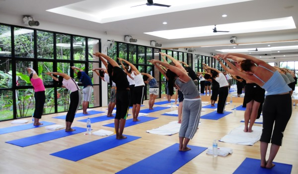 A yoga class in the jungle studio at Absolute Sanctuary, Thailand