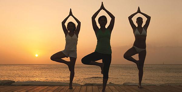 Beach yoga at Epic Sana