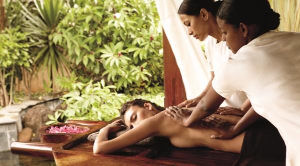 Massage treatment on a spa holiday at Shanti Maurice
