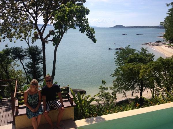 Samantha and Paul by the beach at Kamalaya, Thailand