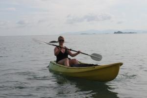 Samantha kayaking at Kamalaya in Thailand