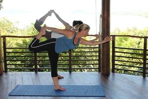 Samantha's yoga lesson at Kamalaya, Thailand