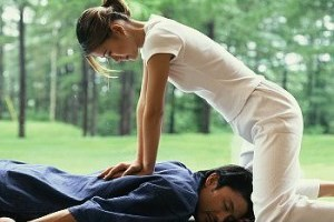Shiatsu massage therapy outdoors