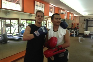 Paul with Fitness Trainer Em after Thai boxing at Kamalaya, Thailand
