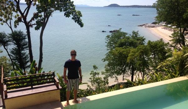 Paul at the beach front pool villa at Kamalaya, Thailand