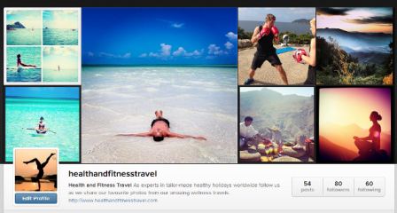 Health and Fitness Travel Instagram page
