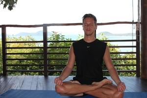 Paul meditating in the yoga Pavilion at Kamalaya, Thailand