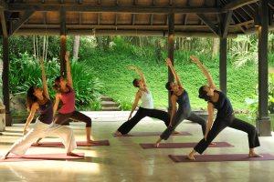 Yoga class on holiday